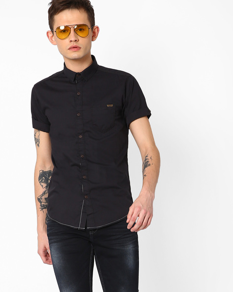 Cotton Shirt With Spread Collar By MUFTI ( Black )