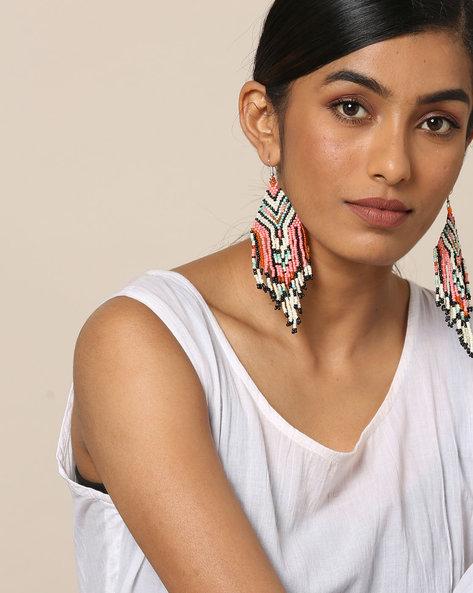 Statement Beaded Dangler Earrings By Indie Picks ( Multicolour ) - 460167630001