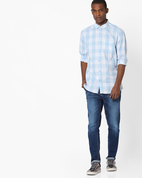 Checked Shirt With Spread Collar By British Club ( Blue )