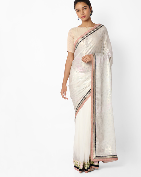 Self-Design Saree With Embroidered Blouse Piece By Mahotsav ( White )