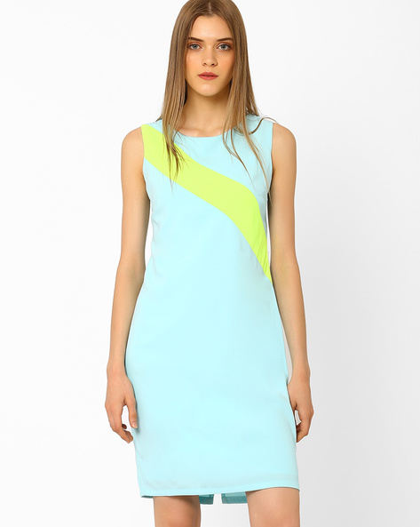 Sheath Dress With Back Zipper By AJIO ( Lightblue )