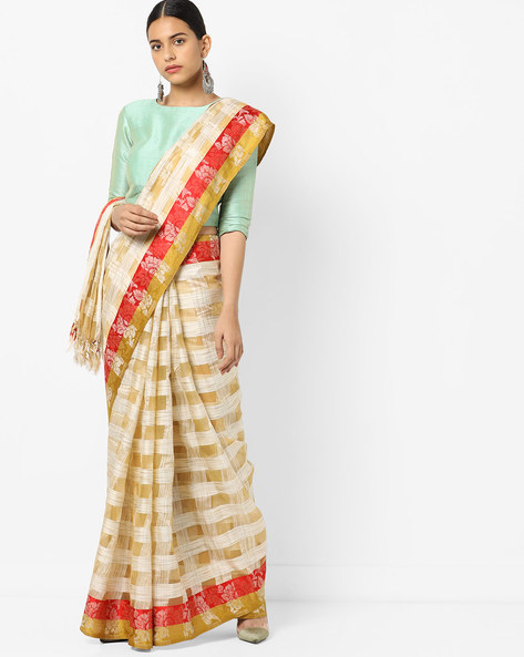 Checked Saree With Contrast Border By Florence ( Red )