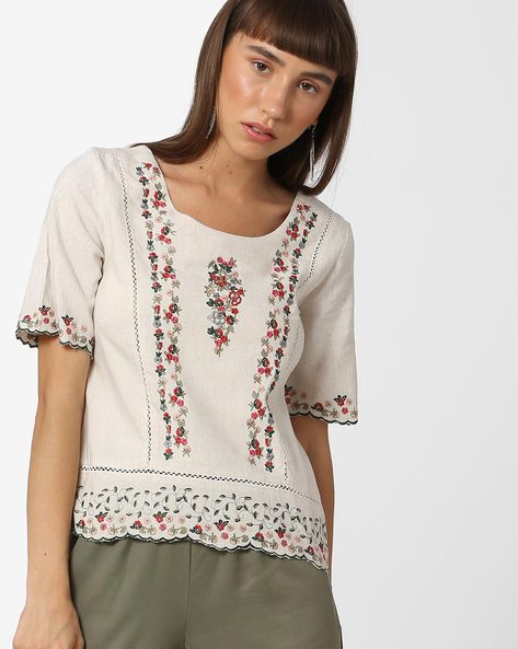 Top With Floral Embroidery By CODE By Lifestyle ( Beige )