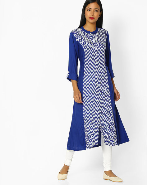 Chevron Print Kurta With Churidar Leggings By AVAASA SET ( Navy )