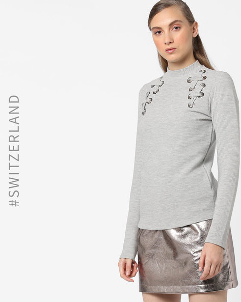 High-Neck Top With Full Sleeves By TALLY WEiJL ( Grey )