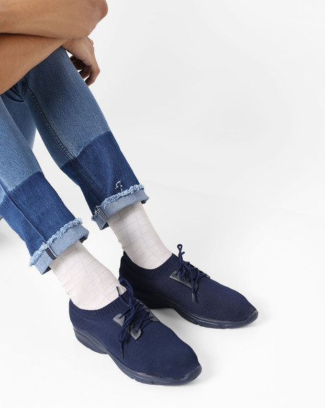 Knitted Lace-Up Casual Shoes By AJIO ( Navy )