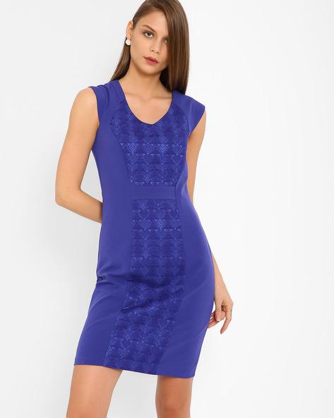 Jacquard Panelled Sheath Dress By AJIO ( Purple )