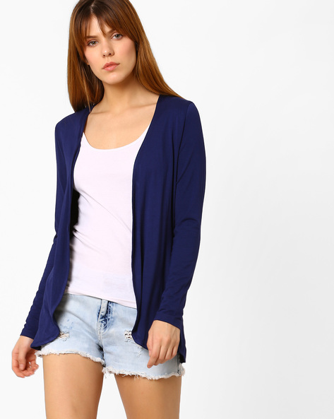 Knitted Open-Front Shrug By Fame Forever By Lifestyle ( Navy )