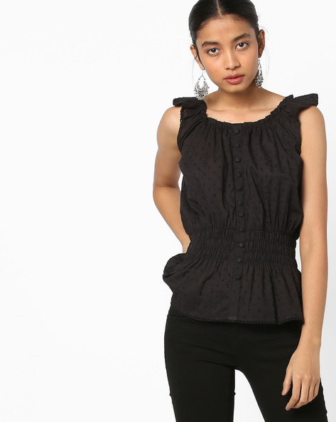 Sleeveless Peplum Top By AJIO ( Black )
