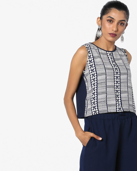 Printed Sleeveless Crop Top By Global Desi ( Indigo )