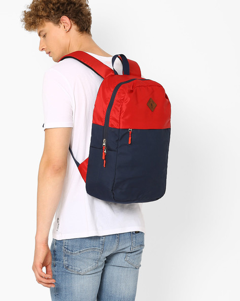 Colourblock Canvas Laptop Backpack By AJIO ( Navy )