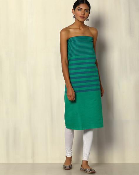 South Cotton Striped Kurta Fabric By Indie Picks ( Blue )