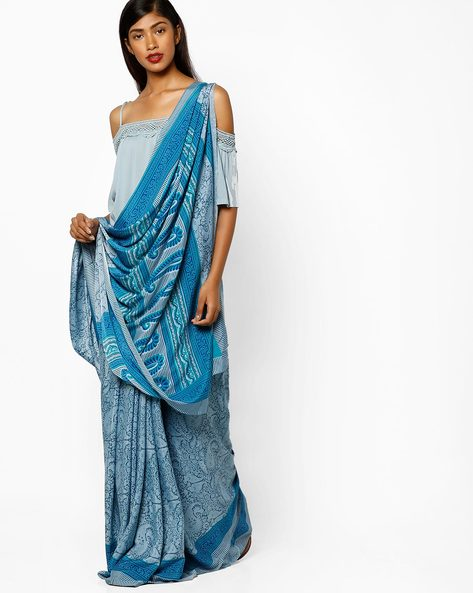Paisley Print Art Crepe Saree By Majestic Silk ( Blue )