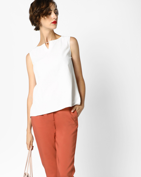 High-Low Top With Keyhole Neckline By AJIO ( White )