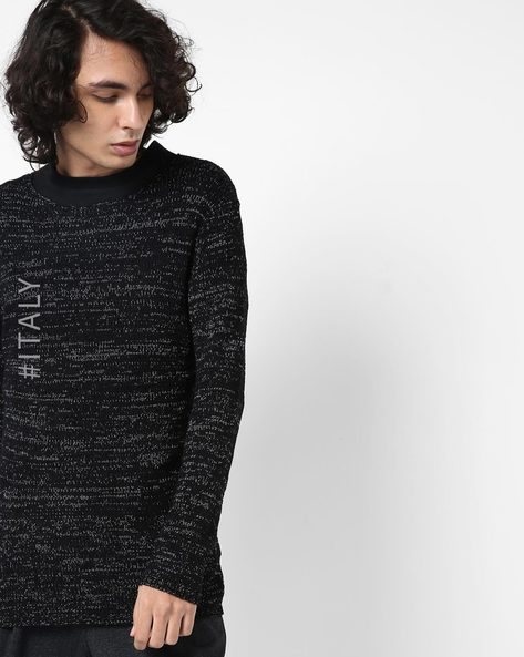 Ribbed Crew-Neck Pullover By ALCOTT ( Black )
