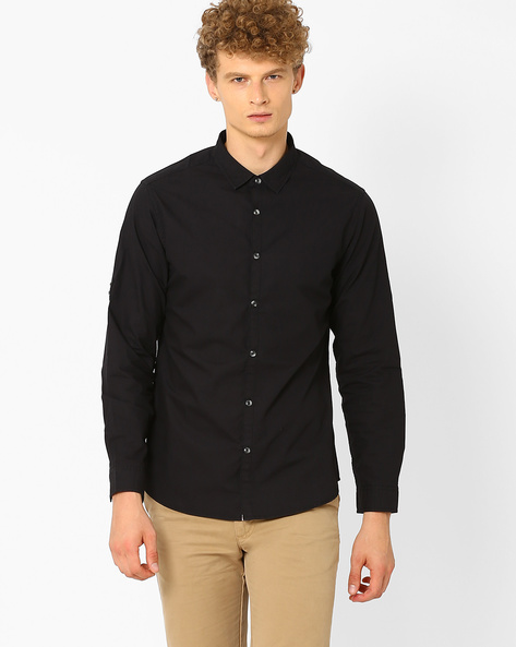 Slim Fit Smart Casual Shirt By AJIO ( Black )