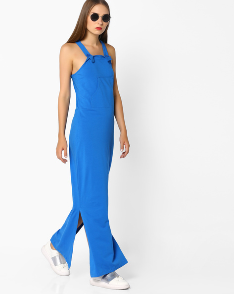 Maxi Dress With Kangaroo Pocket By AJIO ( Blue )
