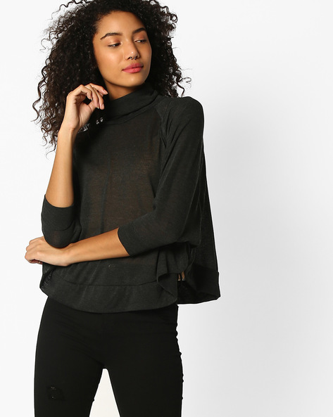 Turtle-Neck Top With Batwing Sleeves By TEAM SPIRIT ( Charcoal )