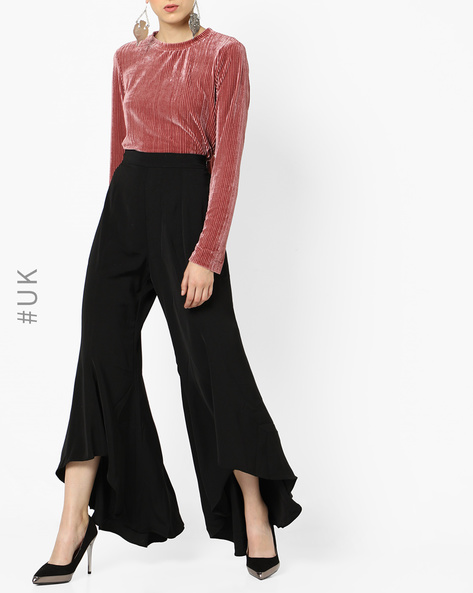 Pleated Palazzos With Asymmetrical Hems By NEON ROSE ( Black )