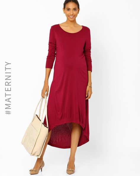 High-Low Maternity Dress By AJIO ( Maroon )