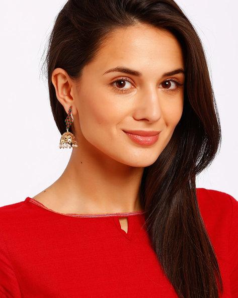 Peacock-Shaped Jhumka Earrings By Ssoul ( Multi )