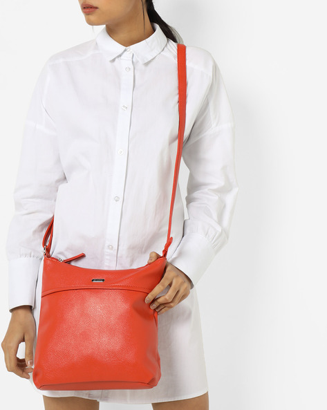 Luba Milled Texture Sling Bag By Lavie ( Orange )