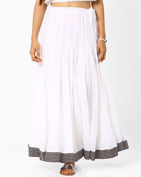 Flared Maxi Skirt By Biba ( White )