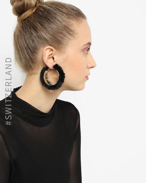Faux-Fur Hoop Earrings By TALLY WEiJL ( Gold )