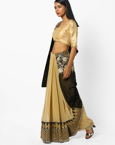 Embroidered Half-and-Half Saree By CHHABRA 555 ( Black )