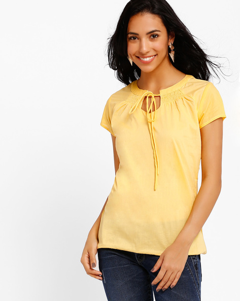 Top With Tie-Up Detail By Style Quotient By Noi ( Yellow )
