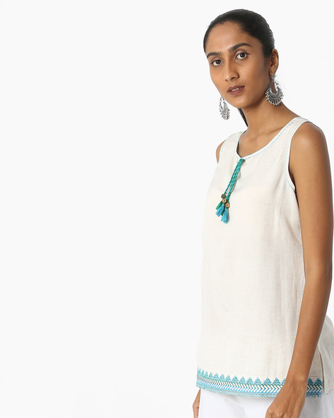 Sleeveless Tunic With Tassels By FUSION ( Offwhite )
