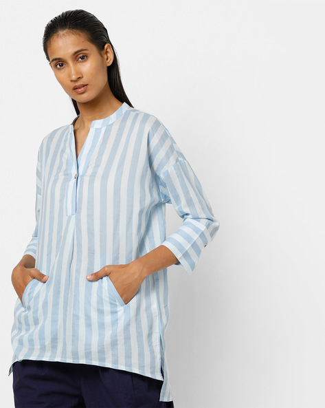 Striped Top With Drop-Shoulder Sleeves By AJIO ( Blue )
