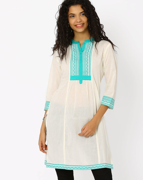 Kurta With Contrast Yoke By AJIO ( White )