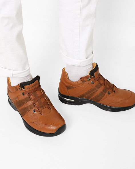 Textured Leather Shoes With Overlapping Tabs By RED CHIEF ( Brown )