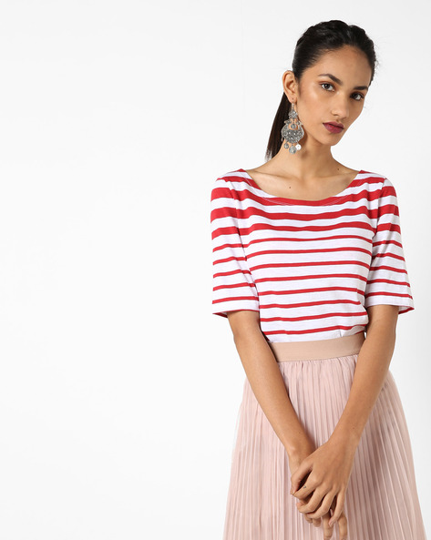 Striped Boat-Neck Top By UNITED COLORS OF BENETTON ( Blue )