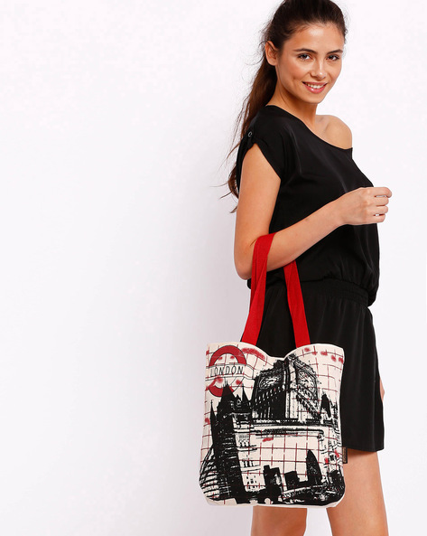 London Graphic Print Tote Bag By Kanvas Katha ( Ecru )