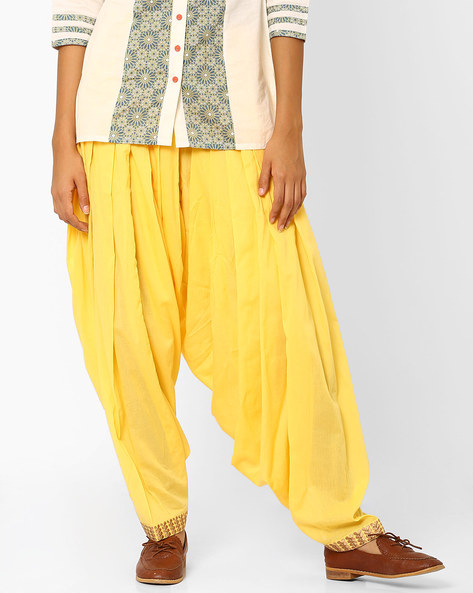 Patiala With Embroidered Hems By AJIO ( Yellow )