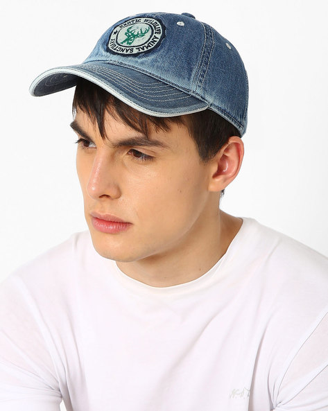 Baseball Cap With Embroidered Branding By Feathers ( Denim )