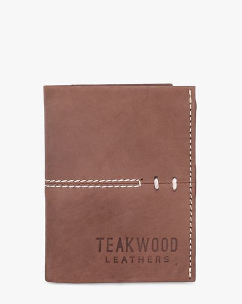 Leather Tri-Fold Wallet By TEAKWOOD LEATHERS ( Brown )