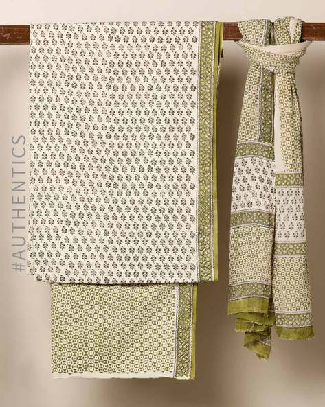 Bagru Handblock Print Cotton 3-Piece Dress Material By Indie Picks ( Green )