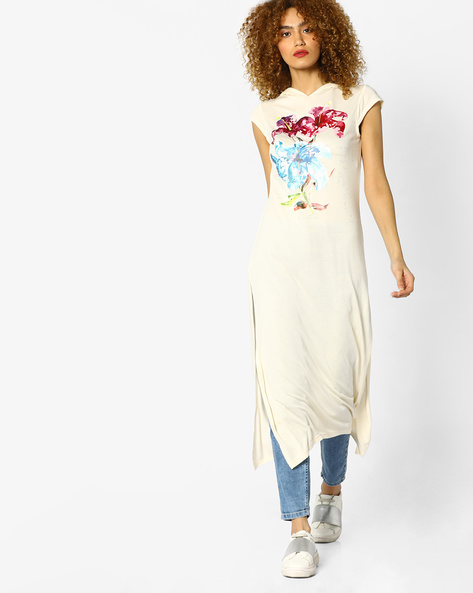 Floral Print Kurta With Hood By AJIO ( Offwhite )