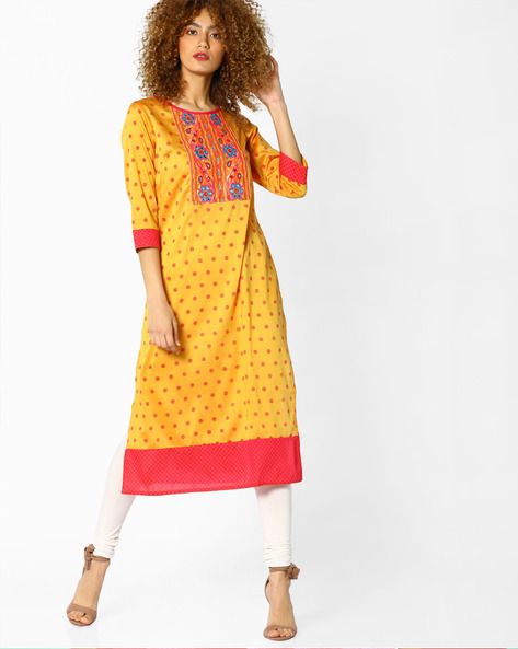 Printed Straight Kurta With Embroidery By Rangmanch By Pantaloons ( Orange )