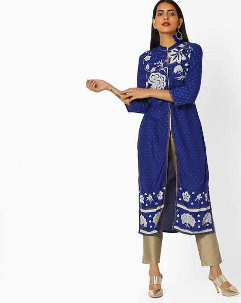 Floral Print Kurta With Zari Embroidery By W ( Blue )