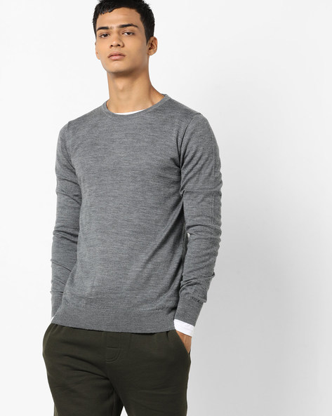 Pullover With Ribbed Hems By Jack & Jones ( Grey )