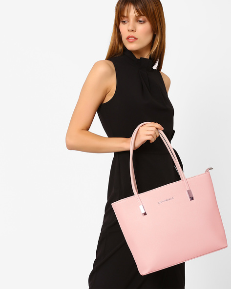 Textured Handbag With Flat Handles By Lino Perros ( Pink )