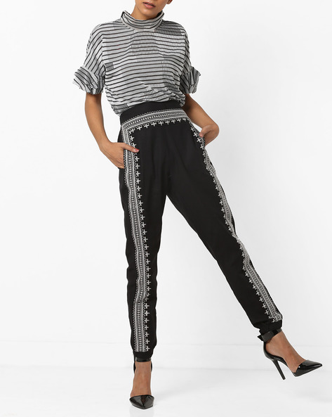 Mid-Rise Embroidered Track Pants By AJIO ( Black )
