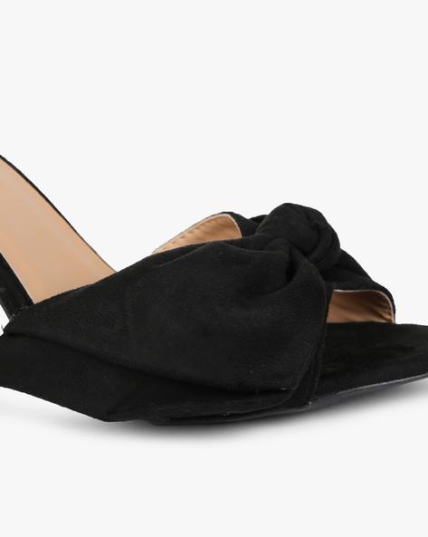 Chunky Heeled Sandal With Bow By AJIO ( Black )