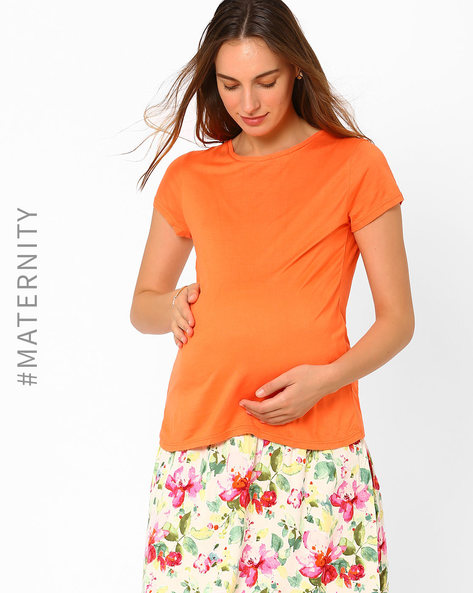 Maternity Top By AJIO ( Fuchsia )