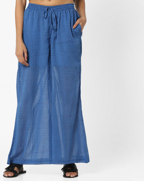 Striped Palazzos With Elasticated Waist By Project Eve IW Casual ( Indigo )