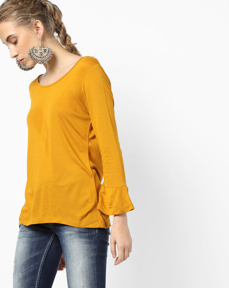 Knit Top With Back Tie-Up By Project Eve WW Casual ( Mustard )